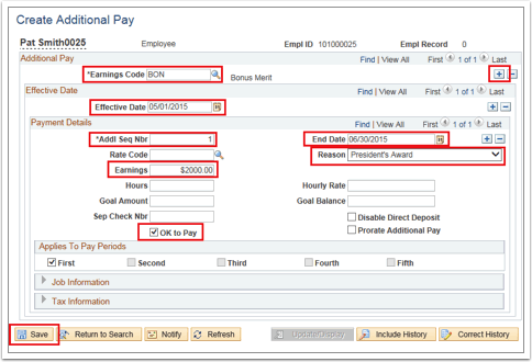 Create Additional Pay