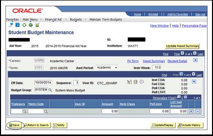 Student Budget Maintenance