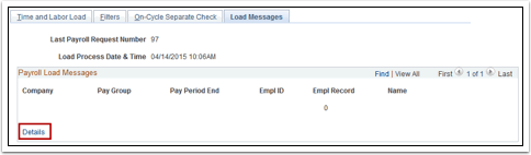 Payroll Load Messages section