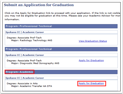 Submit an Application for Graduation