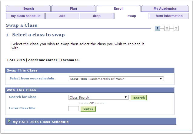 Select a class to swap