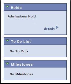 Holds, To Do List, Milestones links