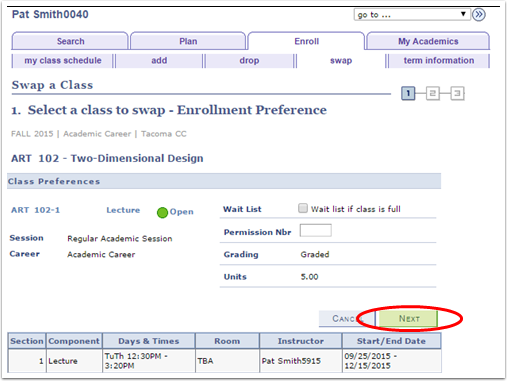 Select a class to swap Enrollment Preference
