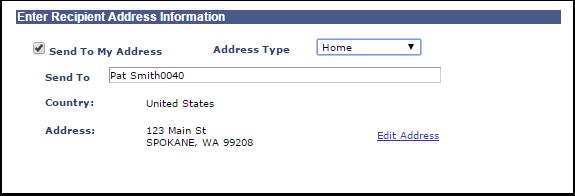 Enter Recipient Address Information