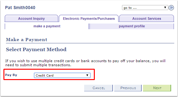 Make a Payment Select Payment Method