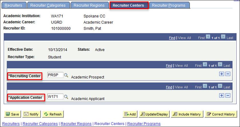 Recruiter Centers tab