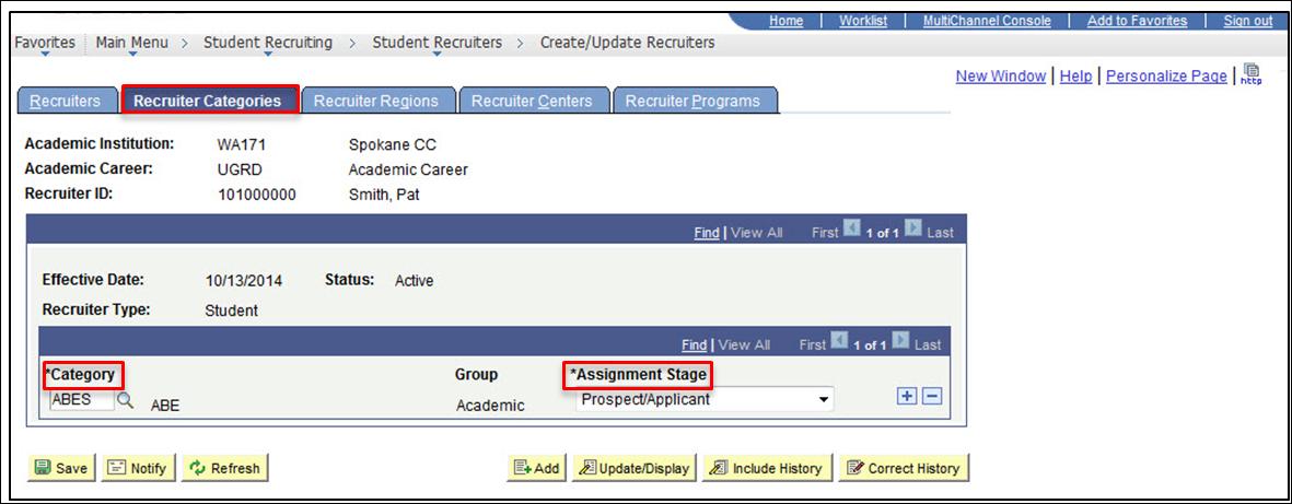 Recruiter Categories tab