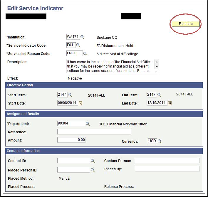 Edit Service Indicator page