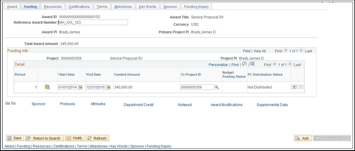 Funding tab