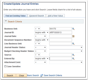 Create Update Journal Entries
