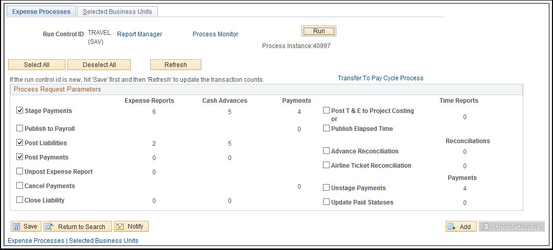 Expense Processes tab