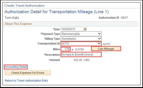 Authorization Detail for Transportation Mileage (Line 1)