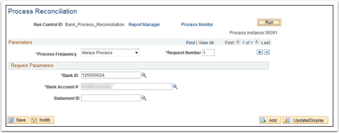 Process Reconciliation page