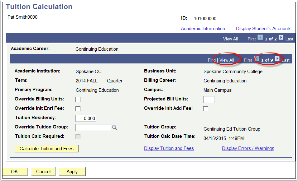 Tuition Calculation
