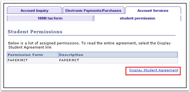 Display Student Agreement link