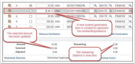 Payment Worksheet Application page