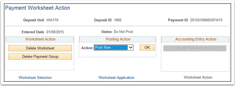 Payment Worksheet Action section