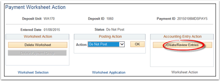 Create Review Entries action