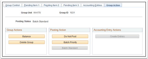 Group Action tab