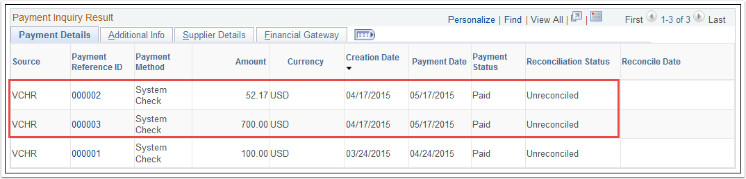 Payment Details tab