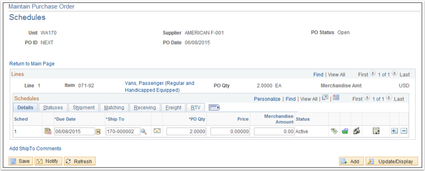 Maintain Purchase Order Schedules section