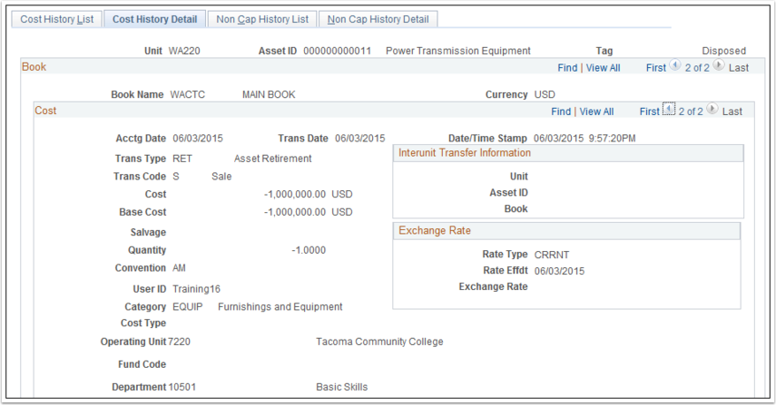 Cost History Detail tab