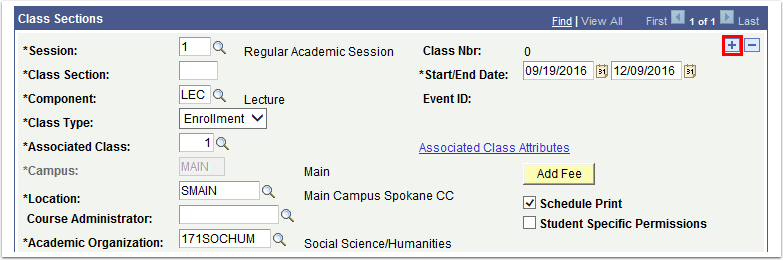 Class Sections section