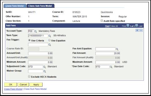 Class Sub Fees Modal tab