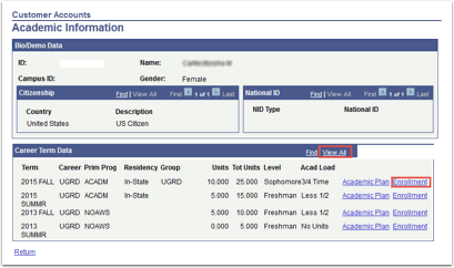 Academic Information page