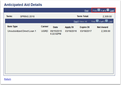 Aniticpated Aid Details page