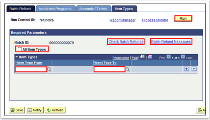 Batch Refund tab