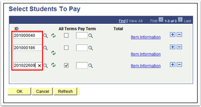 Select Students to Pay