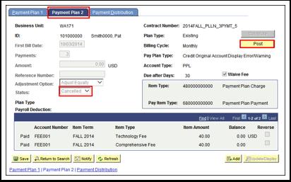 Payment Plan 2 tab