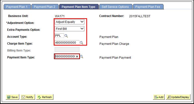 Payment Plan Item Type tab
