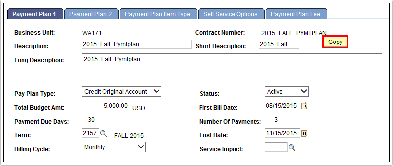 Payment Plan 1 tab