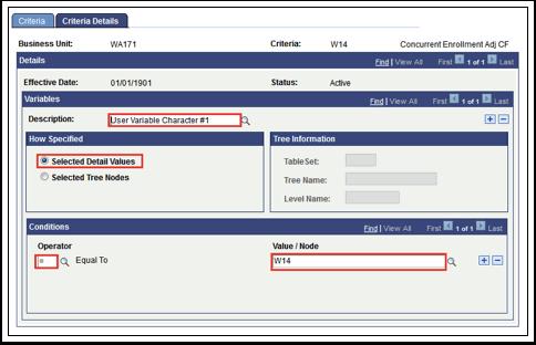 Criteria Details tab