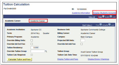 Tuition Calculation page
