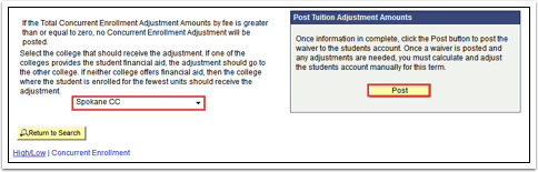 Post Tuition Adjustment Amounts Post button