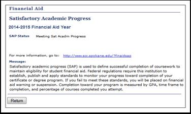 Satisfactory Academic Progress  message