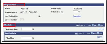 Program Status page