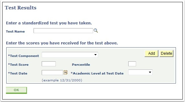 Test Results page