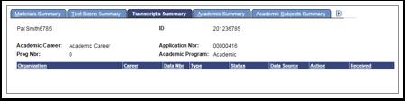 Academic Summary tab