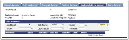 Academic Subjects Summary tab