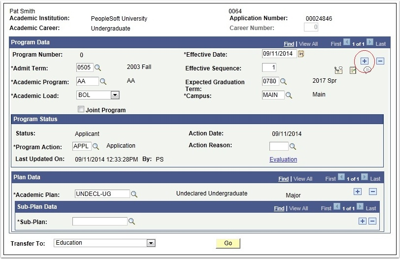 Program Data page