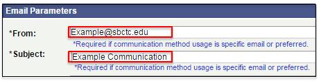Email Parameters