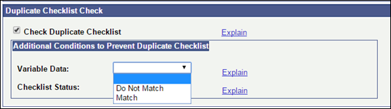 Duplicate Checklists Check