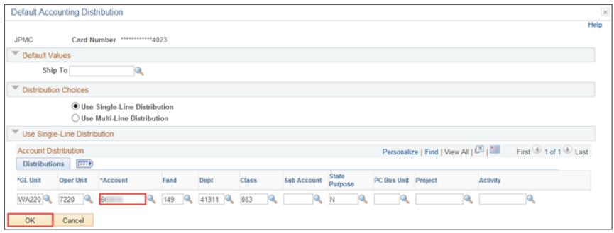 Default Accounting Distribution