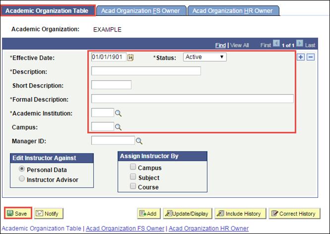Academic Organization Table tab