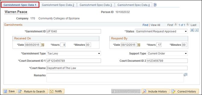 Garnishment Spec Data 1 tab