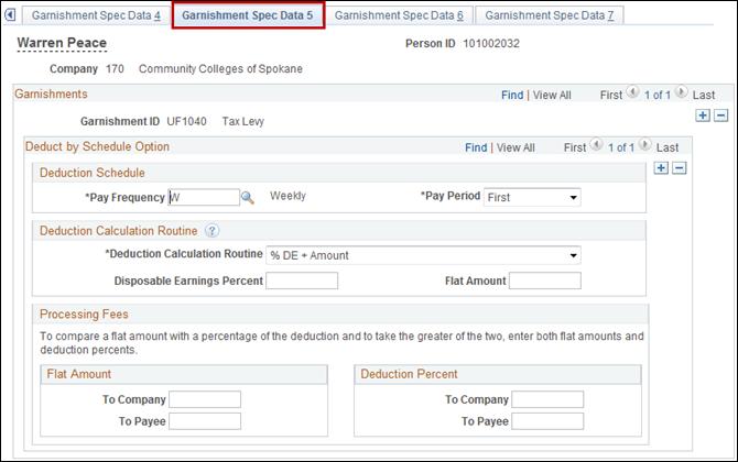 Garnishment Spec Data 5 tab